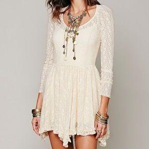 Free People Sheer Lace Mini Long Sleeve Dress XS